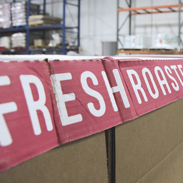 Close up of fresh roasted peanut packing and shipping boxes in the El Paso plant warehouse
